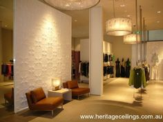 Pressed tin panels are suited for both commercial and residential projects. This design is called the Jasmine panel. Pressed Metal, Metal Panels, Ceiling Panels, Laundry In Bathroom, My New Room, Game Room, Entrance, Jasmine, Feature Walls