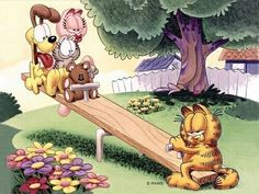 Garfield is one of greatest comic strip which created by James Jim Davis in Garfield is the name of Davis's grandfather.First Garfield is introduced as daily newspaper cartoon and this cartoon get big hit and later this is based. Garfield Cartoon, Garfield And Odie, Garfield Comics, Bd Comics, Garfield Wallpaper, Love Wallpaper, My Collection, Grumpy Cat, Cool Cats