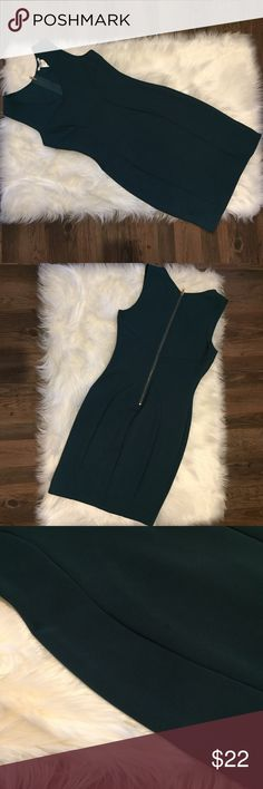 Bar III Fitted Dark Green Dress Worn minimally, has two barely noticeable spots (see 3rd pic). Hardware is rose gold. I'm 5'10 and it hits me at mid thigh in length. Last picture has a filter but Dress does have like a dark green with a hint of blue tone to it. Bar III Dresses