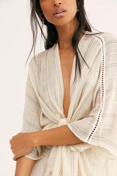 There She Goes Ruffle Stripe Kimono Ruffle Trim, Ruffles, There She Goes, The White Album, Free People Store, Kimono, Sleeves, Shopping, Style