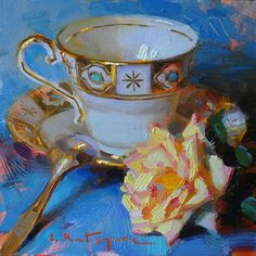 White Cup and Yellow Rose by Elena Katsyura Oil ~ 6 x 6