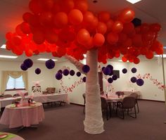 For valentine's day we curled stove boxes and wrapped them in gossamer.  Blew up red balloons and hung some purple decorations.  We change the red to green for earth day.  Do not use helium balloons!  We blew these up and hung them from the ceiling 3 to 4 tied together with string.