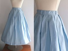 1950s Blue Skirt / Vintage 50s Baby Blue by SavvySpinsterVintage, $30.00