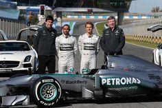 (L to R): Toto Wolff (AUT) Mercedes AMG F1, Lewis Hamilton (GBR) Mercedes AMG F1, Nico Rosberg (GER) Mercedes AMG F1 and Ross Brawn (GBR) Mercedes AMG F1 Team Principal with the new Mercedes AMG F1 W04.  Mercedes AMG F1 W04 Launch, Jerez, Spain, Monday, 4 February 2013