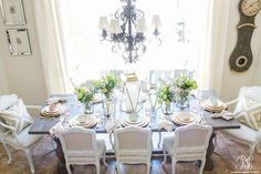 Antropologie inspired Mother's Day tablescape with gold lanterns by Randi Garrett Design