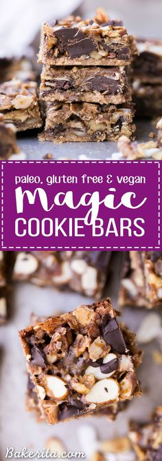 These Paleo Magic Cookie Bars are just as rich and delicious as the classic seven layer bars you know and love! This gluten-free, vegan, and refined sugar free version has an almond flour crust and homemade coconut milk caramel.