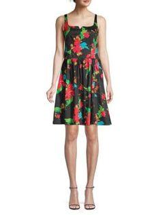 Nanette Lepore Tropical Print Cotton Dress In Black Multi Nanette Lepore, A Line Skirts, World Of Fashion, Cotton Dresses, Pleated Skirt, Printed Cotton, Dress Outfits, Floral Prints, Summer Dresses