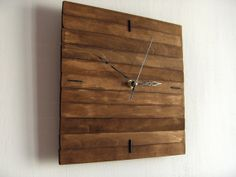Wooden walnut/oak square wall hanging clock wood walnut silent movement MADE TO ORDER on Etsy, 24,54€
