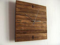 "Praf I 22x22cm (9x9"") - Silent Wooden Square Wall Hanging Clock Wood Walnut…"