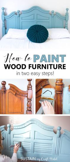 Painting dated and worn wood furniture is a cheap way to update a room. Check out this simple tutorial for upcycling wood furniture in just two easy steps! via @sustainmycrafth