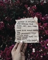 without a failure that bruised your heart, art, and every start what else remind you that underneath this golden skin word 'strong' runs in your veins ✨ // a poetry piece for - you go my beautiful bbys Poem Quotes, Heart Quotes, Words Quotes, Sayings, Funny Quotes, Pretty Words, Cool Words, Poems Beautiful, Beautiful Things