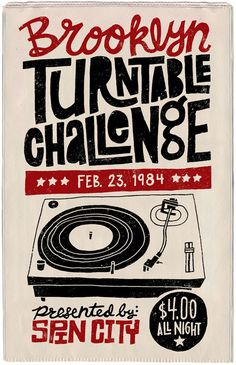 Brooklyn Turntable Challenge Poster // Feb. 23, 1984 // #HipHop #Culture #Music
