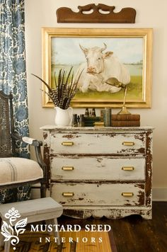 Miss Mustard Seeds Milk Paint in Linen.  Fun and eclectic! Her Cow Painting is to die for I'm loving it