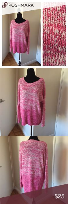 Pink / white cozy scoop neck sweater Cozy pink and white cozy sweater. It does have piling, but perfect for around the house. It features a scoop neck and long length to wear with leggings. Lush Sweaters Crew & Scoop Necks