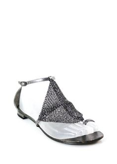 LOLA CRUZ Metallic Silver Leather Jeweled T Strap Thong Sandals Sz 36 6 IN BOX #LOLACRUZ #TStrap