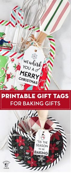 Free printable Christmas baking gift tags. Cute idea for teacher or neighbor gifts for Christmas. #gifttags #baking
