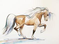 Watercolor Prancing Horse Art by susan iwakoshi www.SweetPeaAndGummyBear.etsy.com