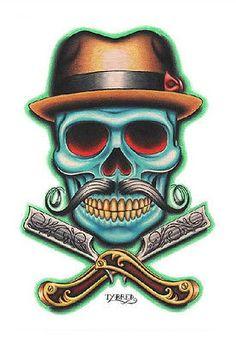 Purple Leopard Boutique - Barber Skull by Tyler Bredeweg Tattoo Art Print Skeleton with Mustache, $24.00 (http://www.purpleleopardboutique.com/barber-skull-by-tyler-bredeweg-tattoo-art-print-skeleton-with-mustache/)