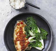 Ginger lemon sole with Chinese greens. Replace vegetable oil with low calorie spray.