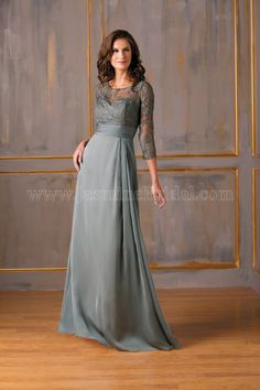 Jasmine Bridal Mother of the Bride/Groom Dress Jade Style J175023 in Silver Grey. An elegant and sophisticated gown for your next special occasion. This Tiffany chiffon dress has a classic scoop neckline and A-line skirt, with a beautiful layer of lace over the bodice and ruching on the belt and skirt that set this dress apart.