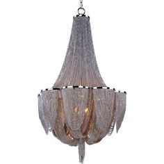 @Overstock.com - Chantilly 10-light Chandelier - Chantilly collection features metal frames gracefully draped with nickel finished jewelry chain. The metal trim rings of polished nickel add sharp contrast to the softness of the chain, which conceals the xenon light source.  http://www.overstock.com/Home-Garden/Chantilly-10-light-Chandelier/8239415/product.html?CID=214117 $1,335.99