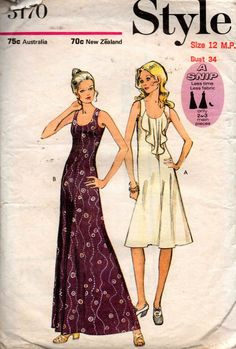 1970s Style 3170 Vintage Sewing Pattern Boho Maxi Dress or Dress with Jabot Size 12 MP Bust 34 inches