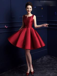 Red Vintage A-line Dress with Bow Waistband - Homecoming Dress, Bridesmaid Dress