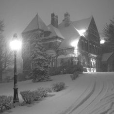 The Studebaker Mansion in South Bend, Indiana, braves a dense snowfall.