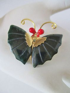 """Vintage Butterfly Pin Brooch or Pendant Jade Wings Coral Eyes Gold Plated 1.5""""W #UnsignedJadeCoralButterflyPinPendant"""