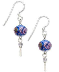 Jody Coyote Sterling Silver Earrings, Blue Flower Bead Drop Earrings - Silver Earrings - Jewelry & Watches - Macy's