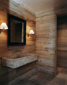 46 Bathroom Interior Designs Made In Rustic Barns....I like the barn wood wall.