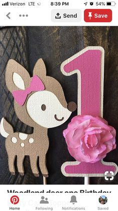 Woodland deer one Birthday Party Cake Topper, woodland Deer birthday Party Cake … - Cake Decorating Cupcake Ideen First Birthday Cake Topper, Birthday Cake Girls, Girl First Birthday, First Birthday Parties, Birthday Party Themes, First Birthdays, Fairy Birthday, Girl Birthday Decorations, Girl Baby Shower Decorations