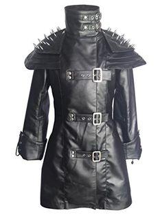 b1803ef70789 Women Ladies Black Sheep Leather Gothic Heavy Duty Steampunk Goth Coat  Jacket Shoulder Cape, Sheep