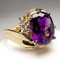 2 CARAT NATURAL AMETHYST COCKTAIL RING W/ DIAMOND ACCENTS 14K GOLD ~ Look at the beautiful purple colour!!!!