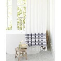 Storage Furniture - A fresh, more absorbent spin on the traditional Turkish towel. Our Turkish Shower Curtain is woven of lightweight, indigo yarn-dyed dobby cotton and finished . Striped Shower Curtains, Fabric Shower Curtains, Window Curtains, Bathroom Sets, Bathrooms, Lake Bathroom, Downstairs Bathroom, Bathroom Storage, Master Bathroom