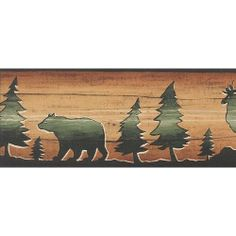 Wildlife Wallpaper Border Moose, Black Bear, Duck Lake