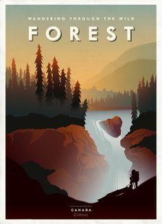 Мы продолжаем серию плакатов, посвещенных замечательным местам. Сегодня мы перенесемся в Канаду, в бескрайние хвойные леса.