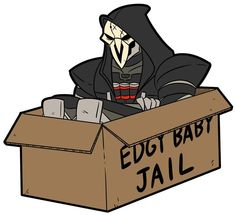 Shop Edgy Baby Jail overwatch stickers designed by MichaelJLarson as well as other overwatch merchandise at TeePublic. Overwatch Reaper, Overwatch Comic, Overwatch Memes, Overwatch Fan Art, Overwatch Merchandise, Baby Jail, Widowmaker, Goth Art, Funny Games