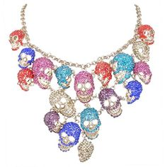 EVER FAITH Lots Skull Halloween Gift Bib Statement Necklace Multicolor Austrian Crystal *** Check this awesome product by going to the link at the image.(This is an Amazon affiliate link and I receive a commission for the sales)