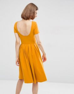 Image 2 of ASOS Midi Pleated Skater Dress with Scoop Back mustard