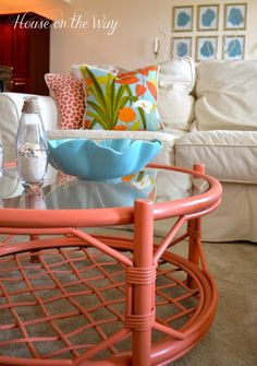 Beach House Coffee Table - love the coral color for wicker/rattan Bamboo Furniture, Colorful Furniture, Diy Furniture, Furniture Projects, Coral Painted Furniture, Painted Wicker, Glass Furniture, Furniture Repair, Furniture Dolly