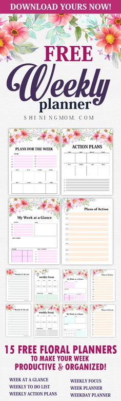 Plan an amazing week with these free weekly planner 2018 printables! There are 15 weekly planner templates to choose from!     #planner #weeklyplanner #printables #2018 #planner2018