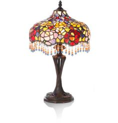 """20"""" H Stained Glass Beaded Floral Table Lamp