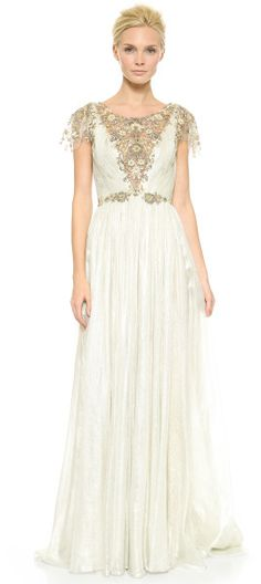 Marchesa Hand Pleated Chiffon Gown Ice Grey in White (Ice Grey) - Lyst