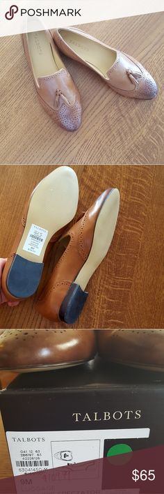 Talbots tassled loafers Classic buttery tan leather loafers.  New, never worn with tassles, cutouts, and stitching details as well as an ombre effect with darkening at toes. Talbots Shoes Flats & Loafers