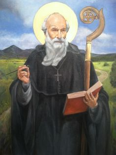 Painting of St. Benedict with added landscape