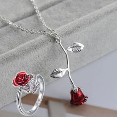Bracelets, Silver, Jewelry, Casual, Flower Pendant, Rose Rings, Wedding Ring Necklaces, Flower Rings, Pink Necklace