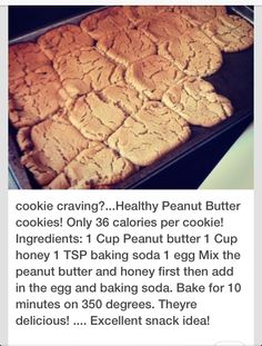 Not sure about the calories amount though. sounds yummy though! Healthy Dessert Recipes, Healthy Baking, Healthy Desserts, Just Desserts, Baking Recipes, Delicious Desserts, Yummy Food, Healthy Cookies, Pb2 Cookies