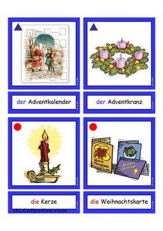 Flashcards_Weihnachten_1 Study German, Learn German, Christmas Cards, Xmas, Weather Seasons, German Words, School Subjects, Index Cards, German Language