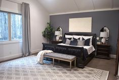New Bedroom Design, Interior Design, Appartement New York, Blackout Drapes, Grey Room, Room Darkening Curtains, Velvet Curtains, Modern Colors, Large Windows